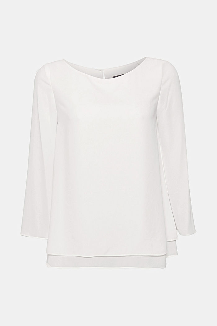 Crêpe blouse with a layered effect, OFF WHITE, detail image number 0