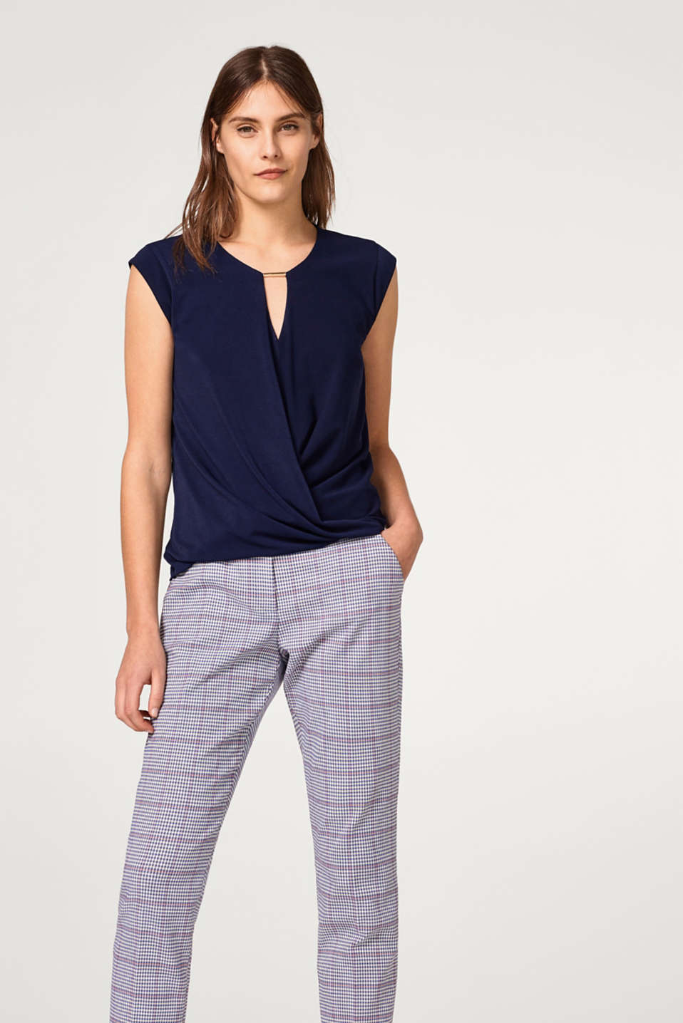 Esprit - Blouse top with a wrap-over effect and a decorative detail