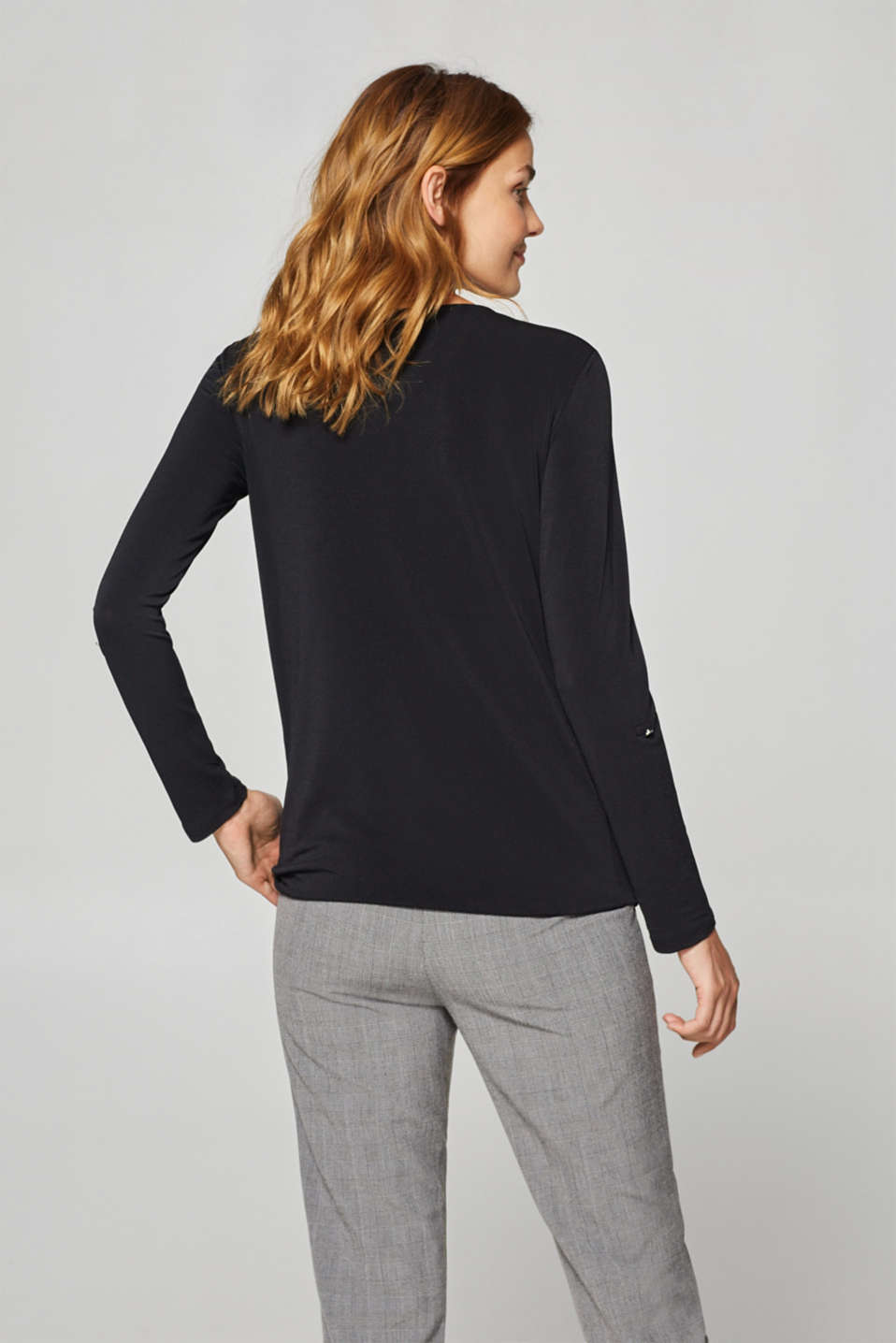 Stretchy long sleeve top with decorative details, BLACK, detail image number 3