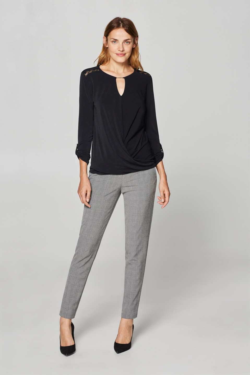 Stretchy long sleeve top with decorative details