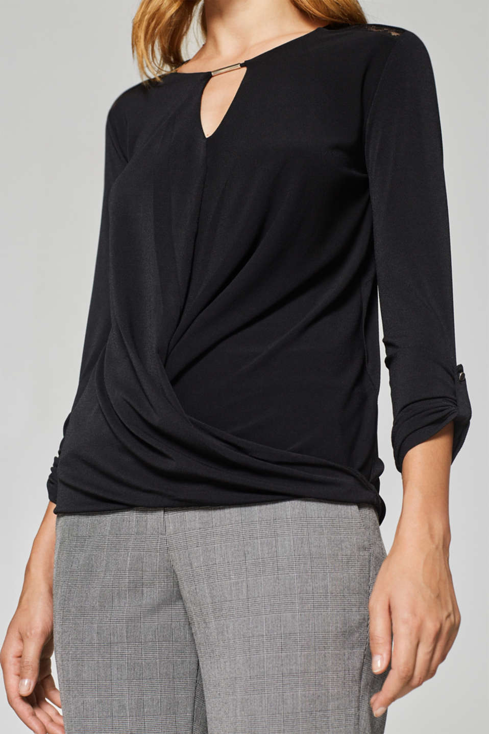 Stretchy long sleeve top with decorative details, BLACK, detail image number 2