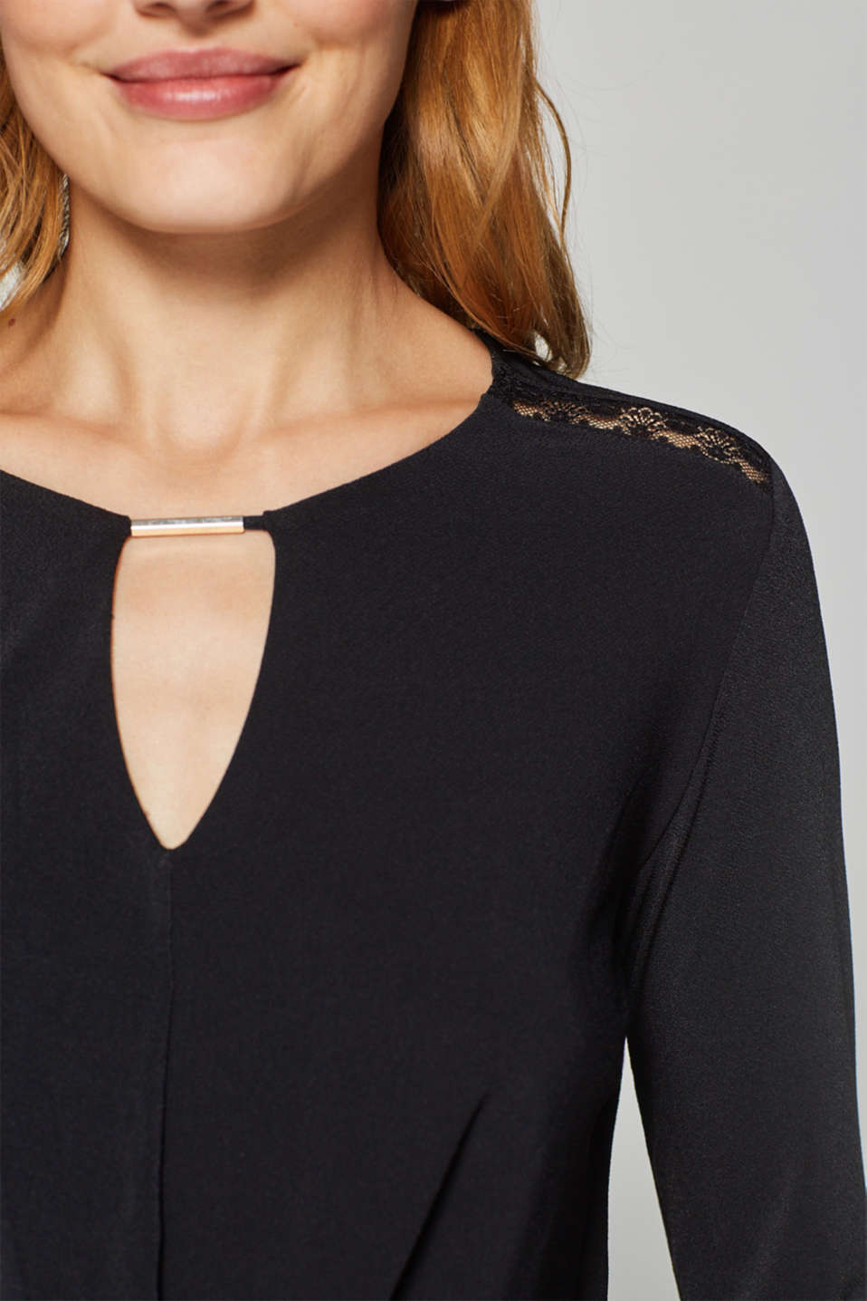 Stretchy long sleeve top with decorative details, BLACK, detail image number 5