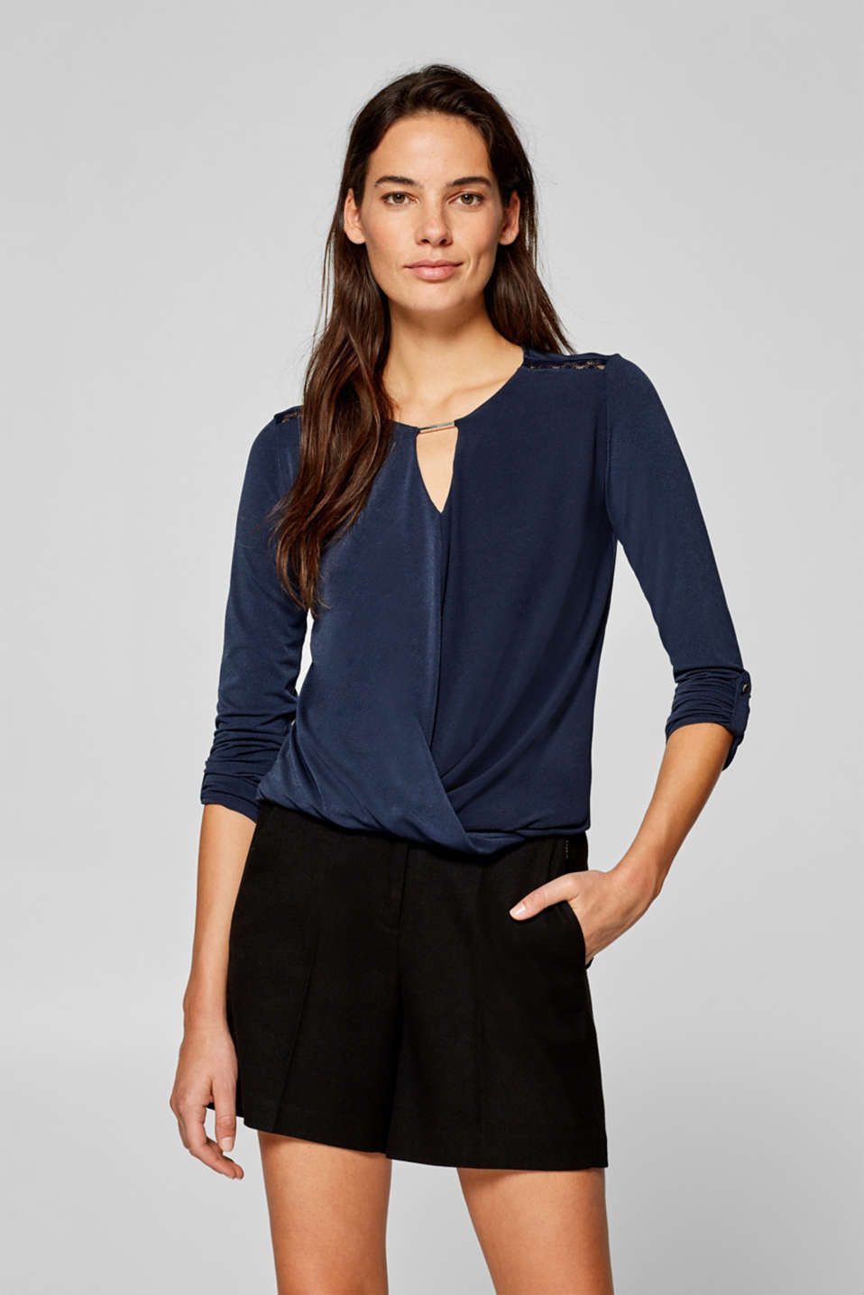 Esprit - Stretchy long sleeve top with decorative details