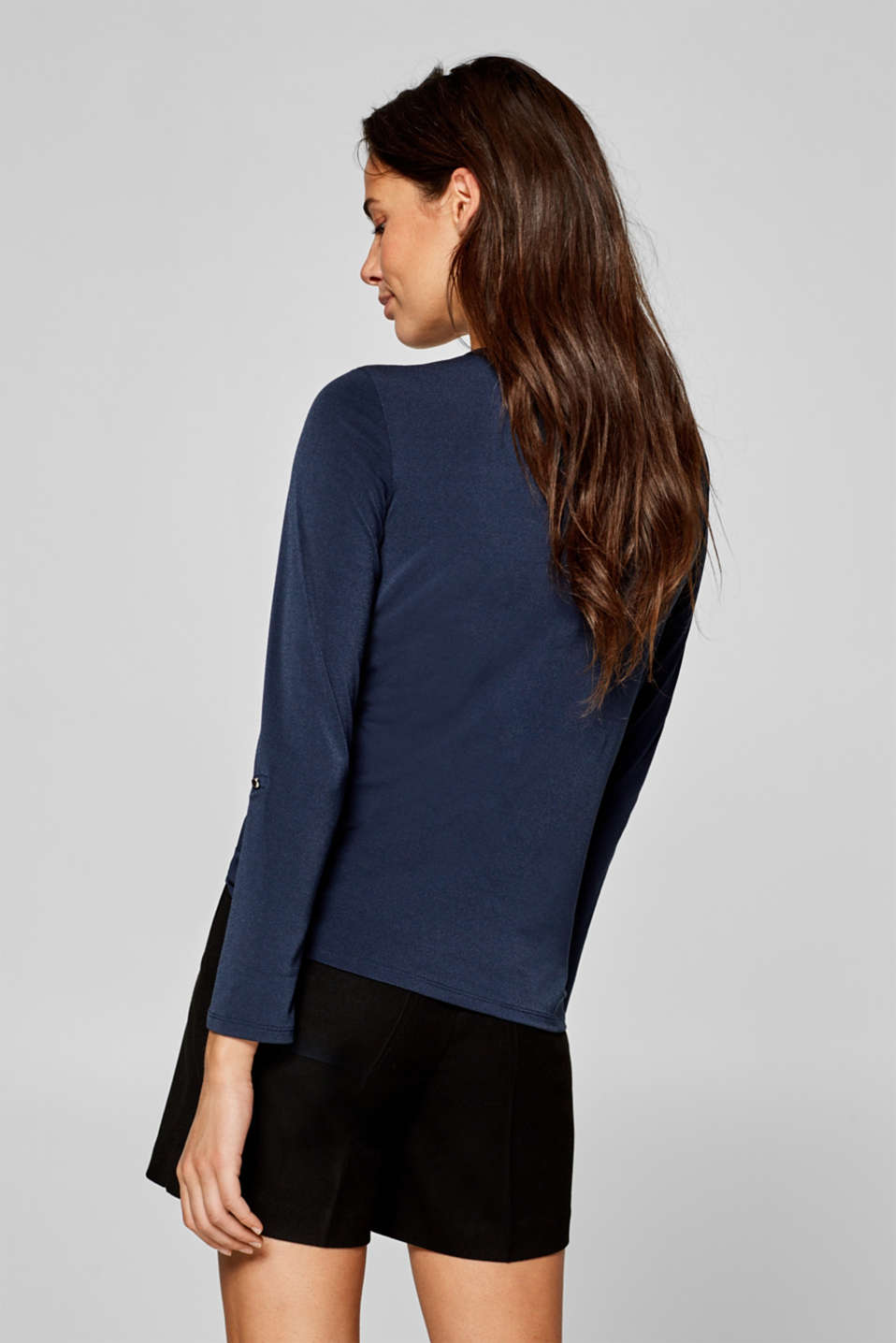 Stretchy long sleeve top with decorative details, NAVY, detail image number 3