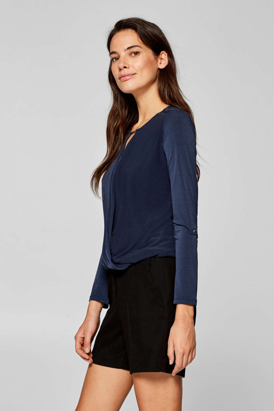 Stretchy long sleeve top with decorative details, NAVY, detail image number 5