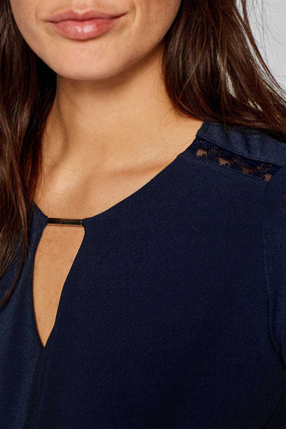 Stretchy long sleeve top with decorative details, NAVY, detail image number 2