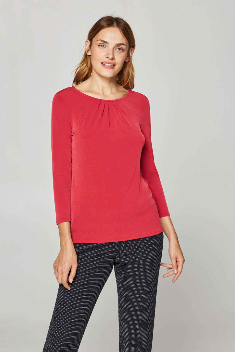 Stretch tee with a pleated neckline, DARK RED, detail image number 0