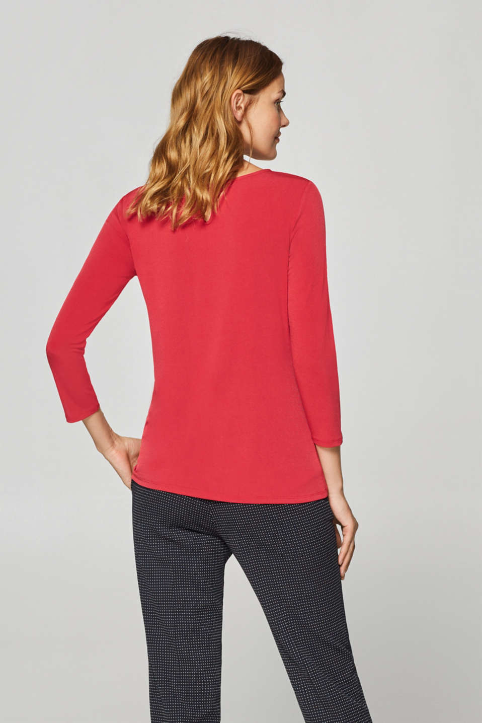 Stretch tee with a pleated neckline, DARK RED, detail image number 3