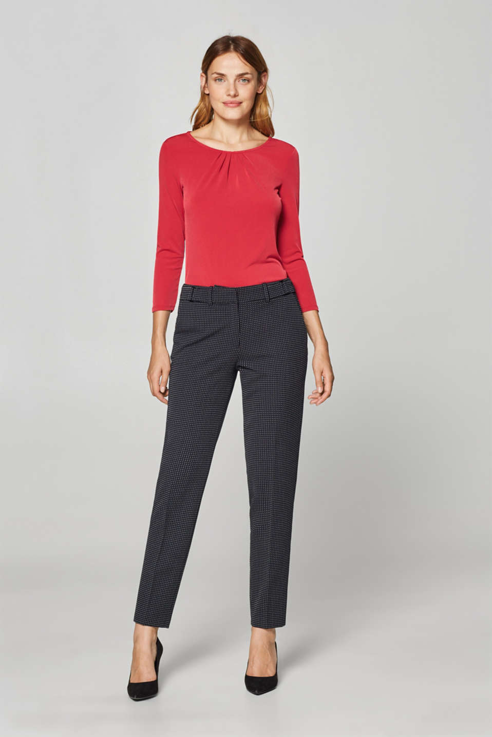 Stretch tee with a pleated neckline, DARK RED, detail image number 5