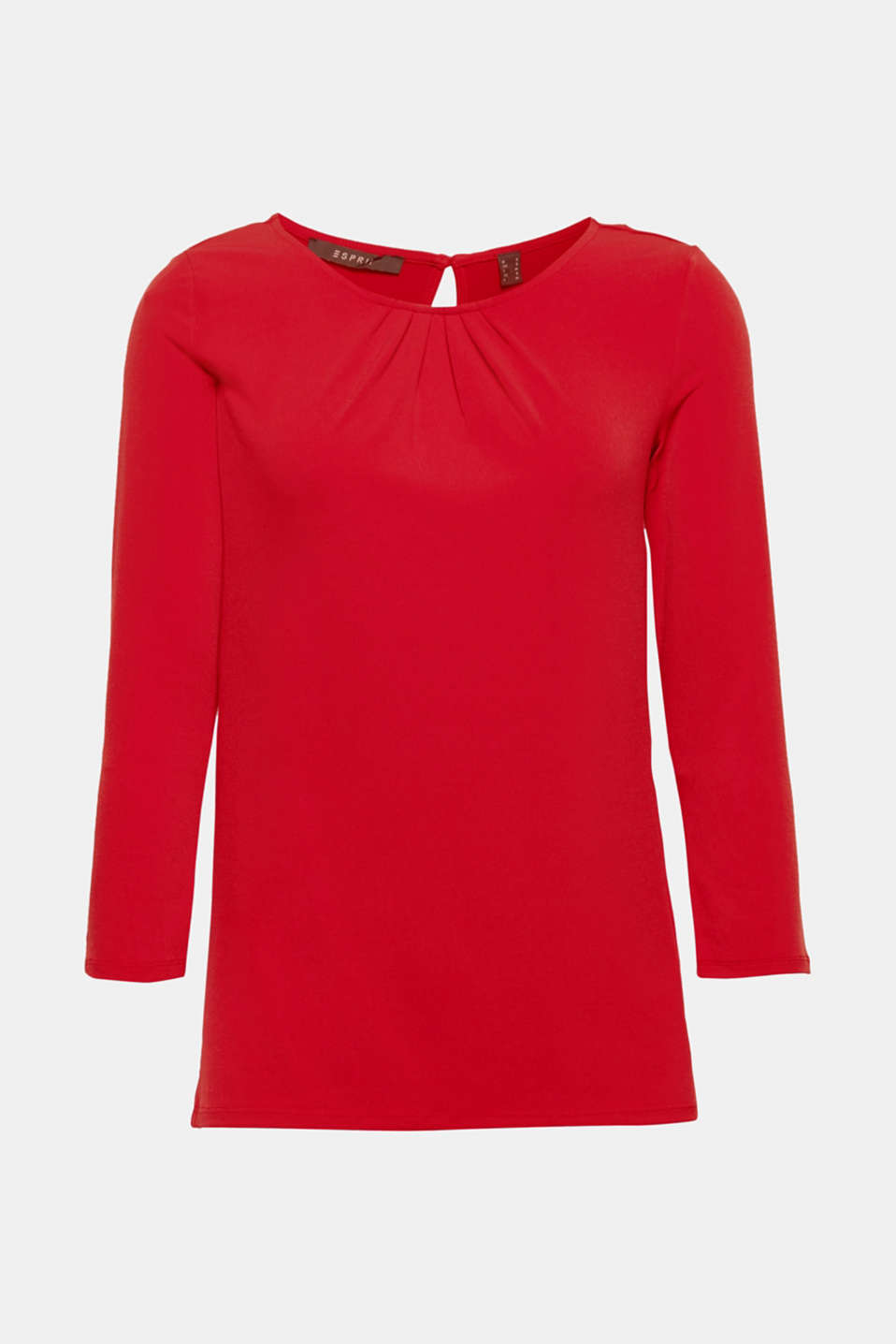 Stretch tee with a pleated neckline, DARK RED, detail image number 6