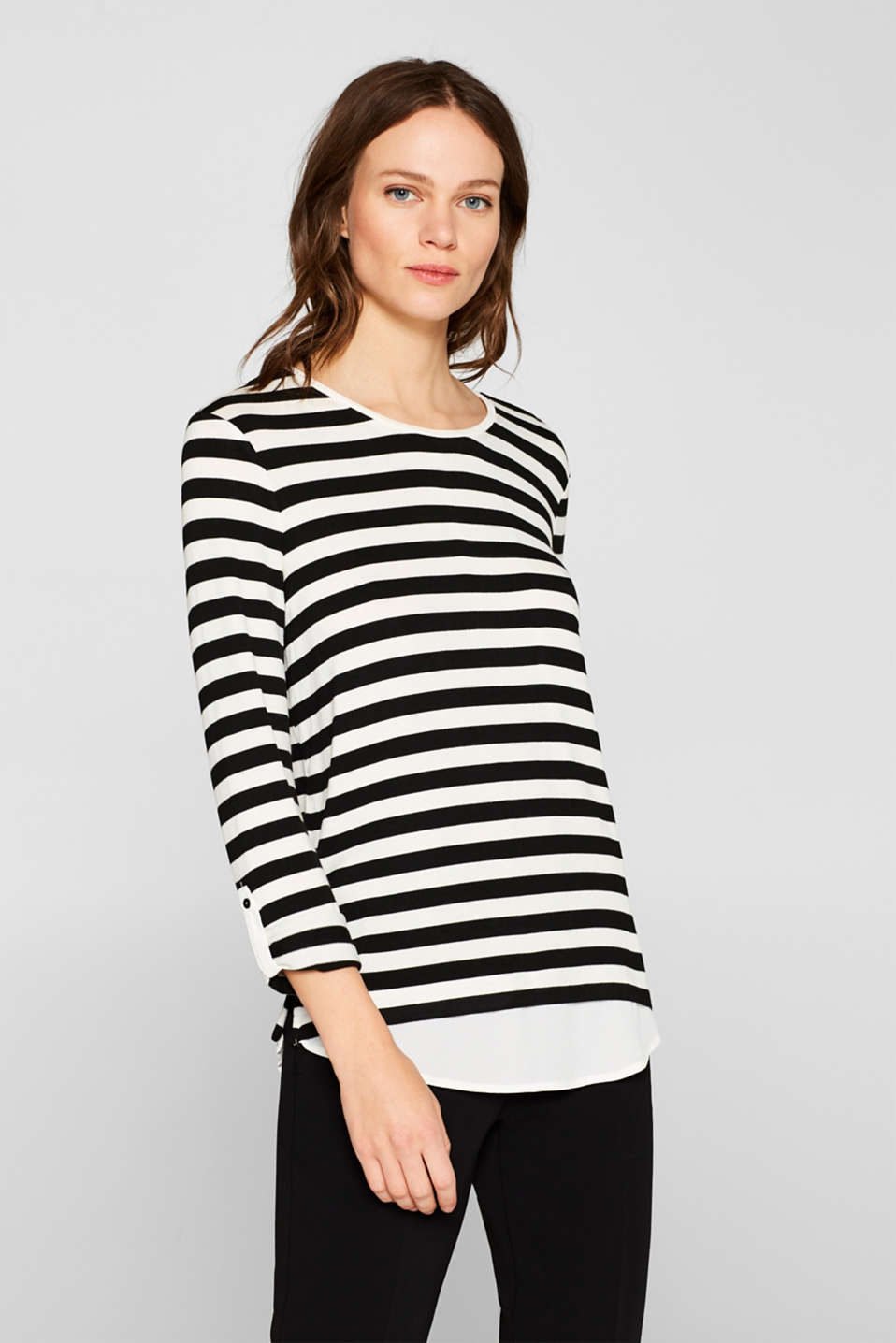 Esprit - T-shirt stretch rayé au look superposé