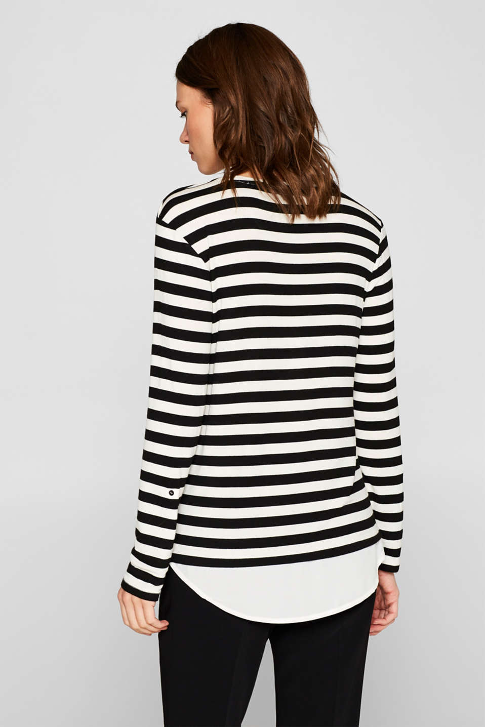 Striped stretch top in a layered look, BLACK, detail image number 3