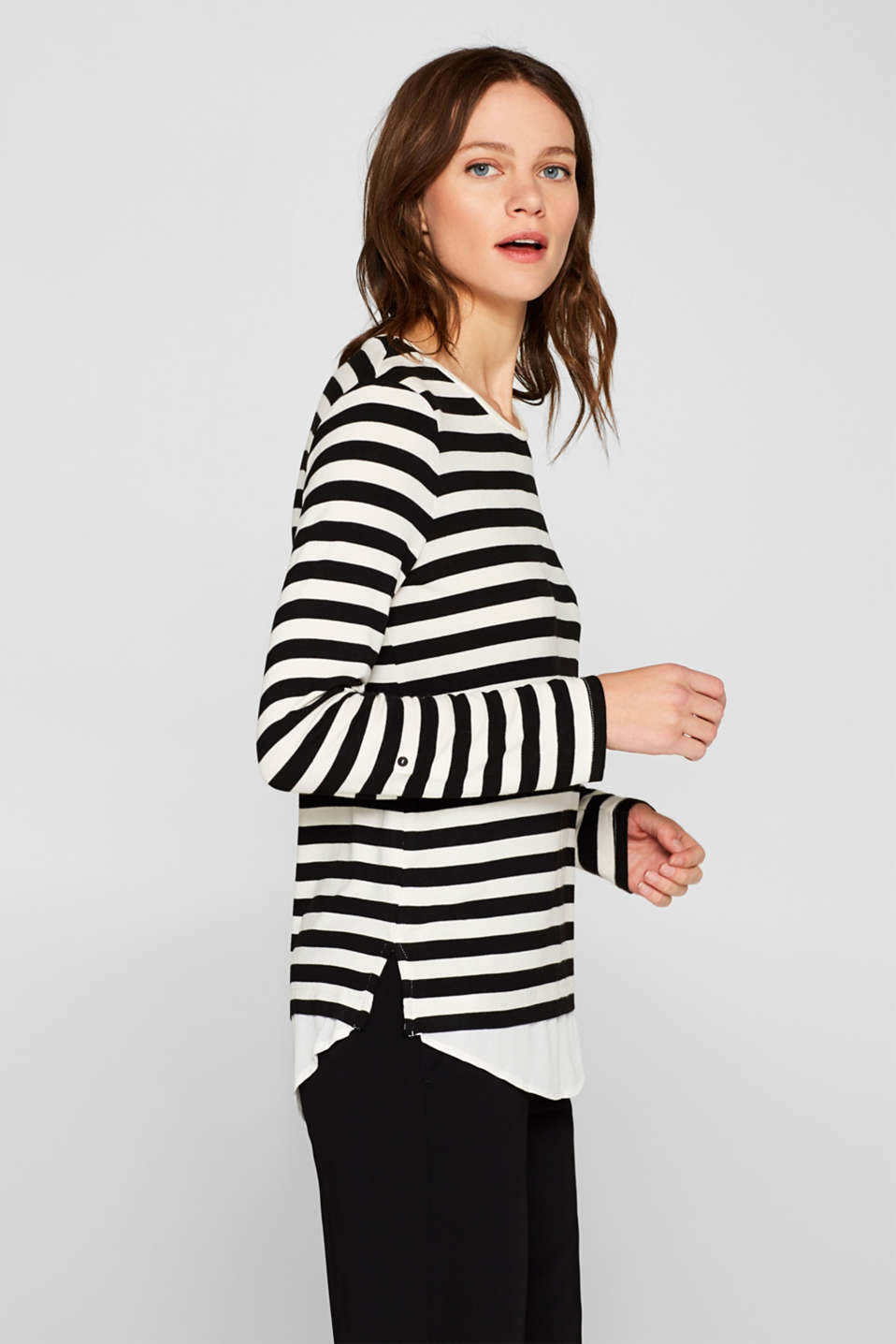 Striped stretch top in a layered look, BLACK, detail image number 5