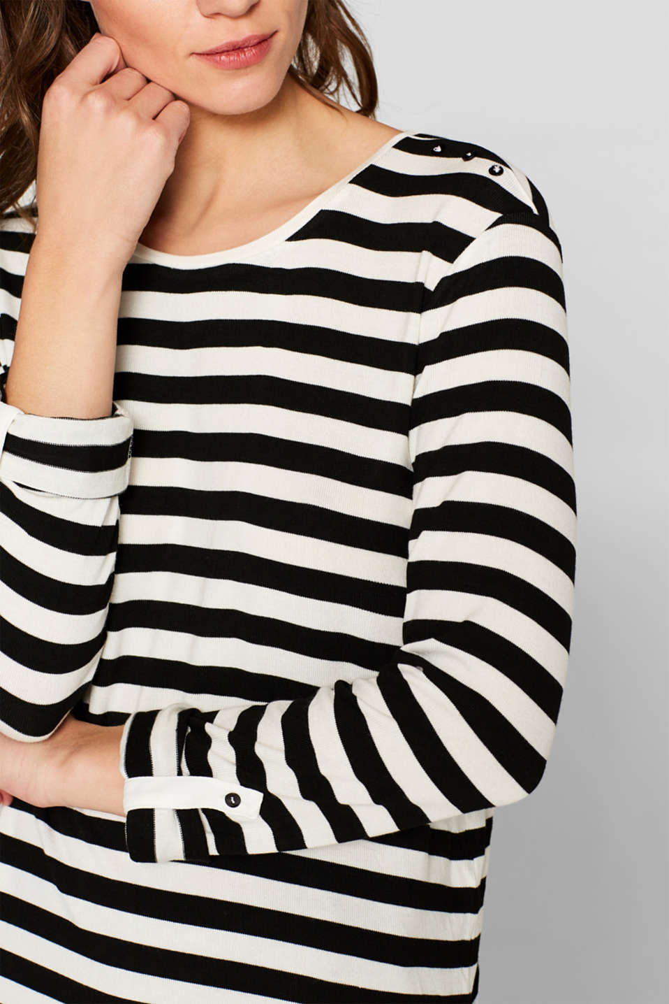 Striped stretch top in a layered look, BLACK, detail image number 2