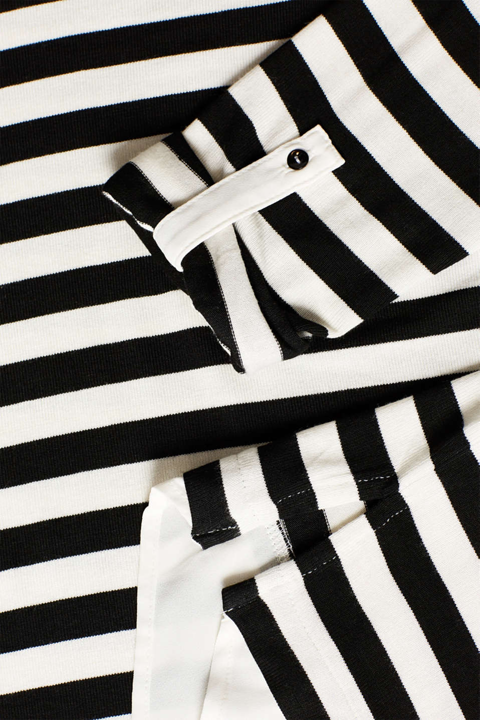 Striped stretch top in a layered look, BLACK, detail image number 4