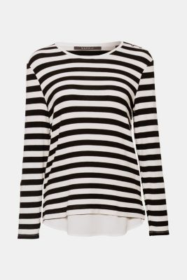 Striped stretch top in a layered look, BLACK, detail