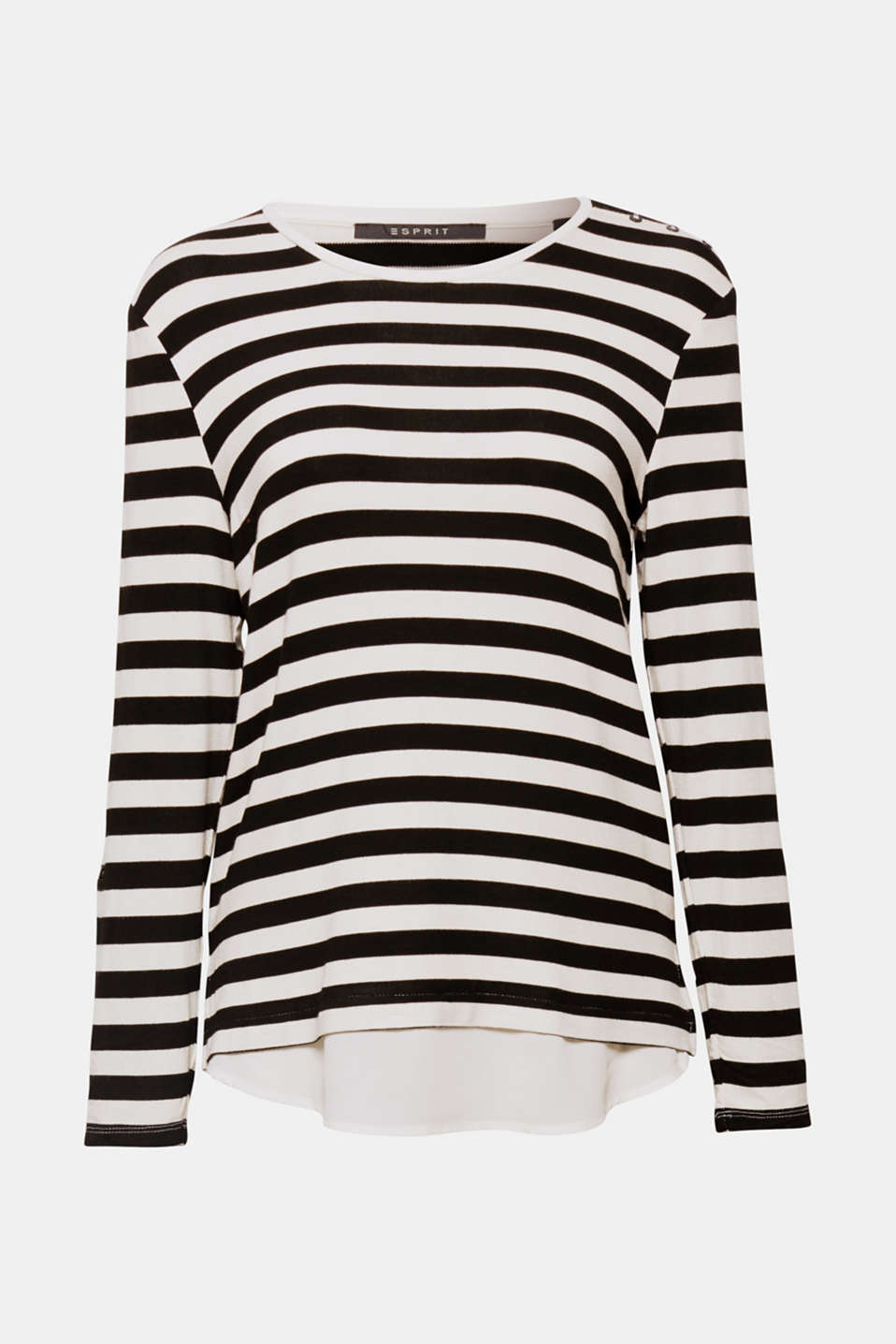 A striped look with a difference! This soft long sleeve top with practical turn-up sleeves and a set-in hem is loosely draped.