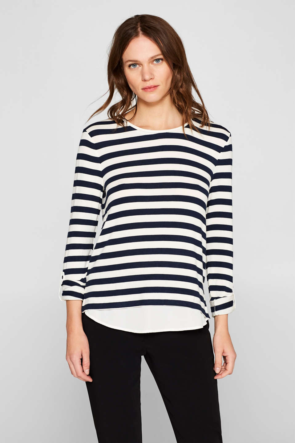 Striped stretch top in a layered look, NAVY, detail image number 0