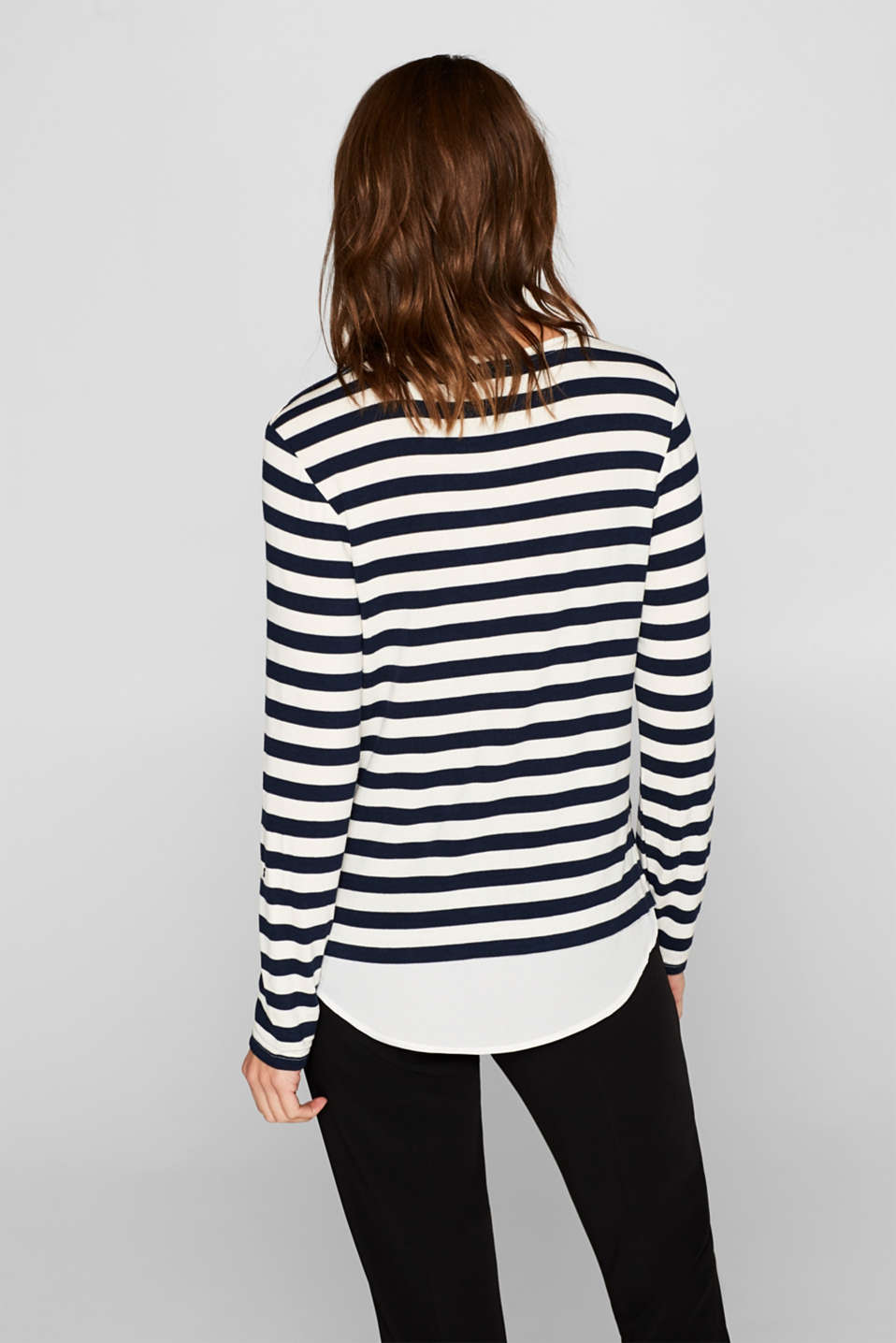 Striped stretch top in a layered look, NAVY, detail image number 3