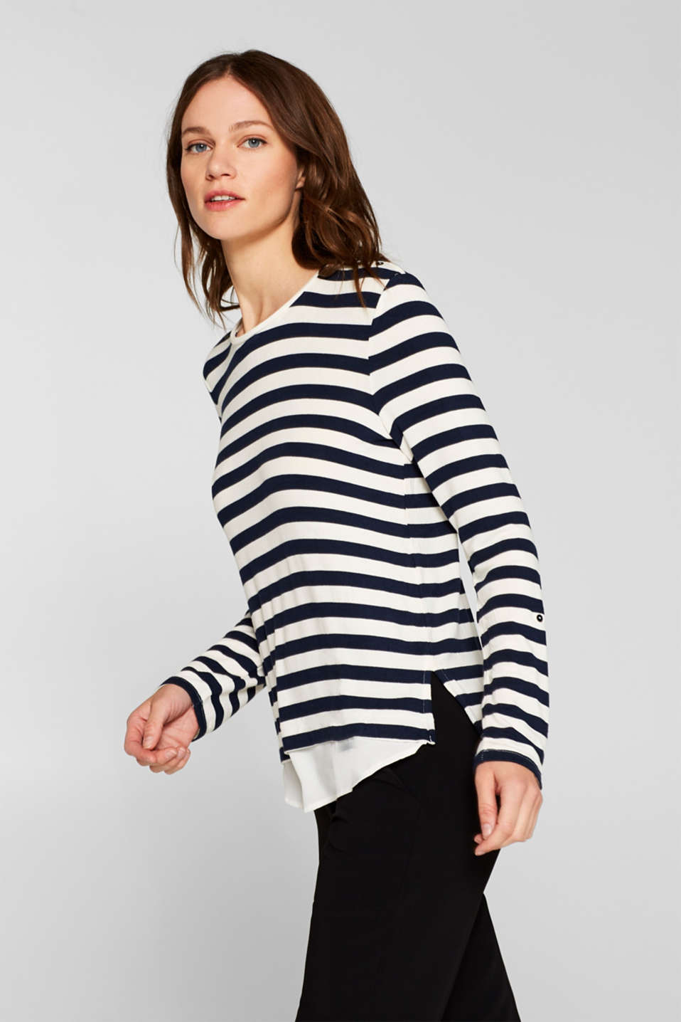 Striped stretch top in a layered look, NAVY, detail image number 5