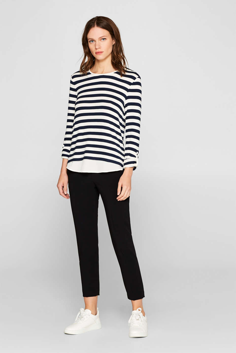 Striped stretch top in a layered look, NAVY, detail image number 1