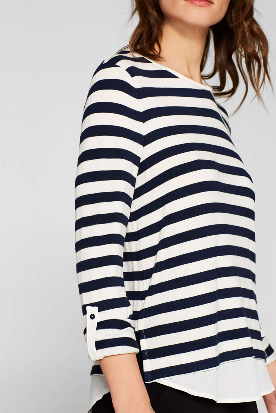 Striped stretch top in a layered look, NAVY, detail image number 2