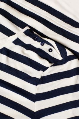 Striped stretch top in a layered look, NAVY, detail