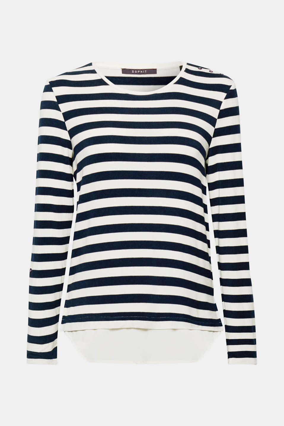 Striped stretch top in a layered look, NAVY, detail image number 6