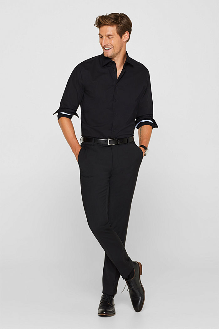 Poplin shirt in 100% cotton, BLACK, detail image number 5