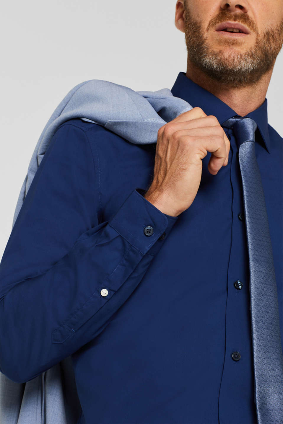 Poplin shirt in 100% cotton, NAVY, detail image number 2