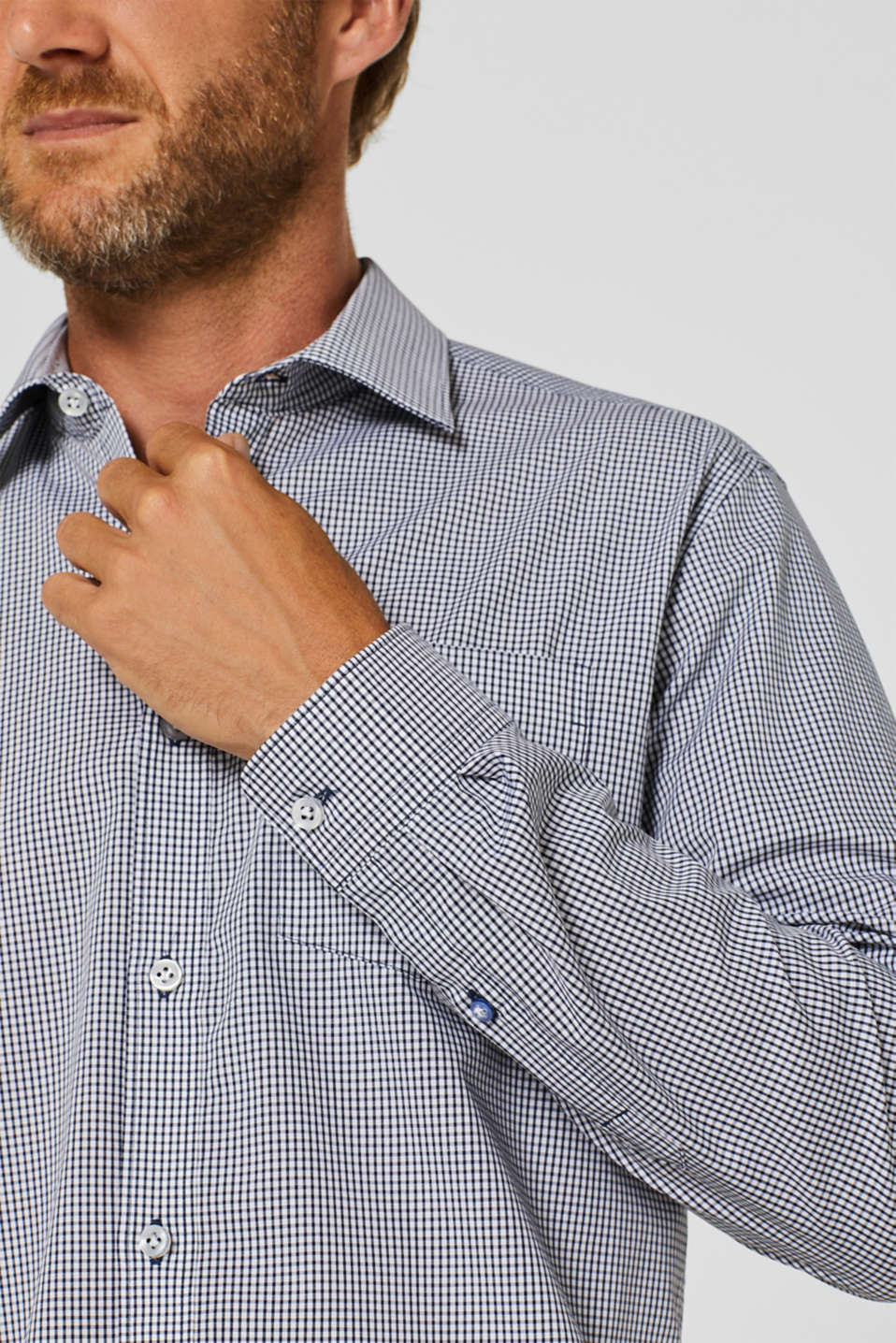 Finely-checked shirt, 100% cotton, NAVY, detail image number 2