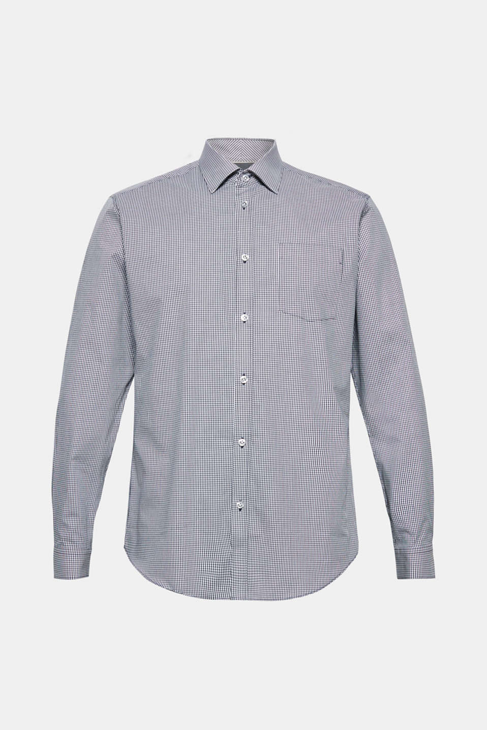 Finely-checked shirt, 100% cotton, NAVY, detail image number 6