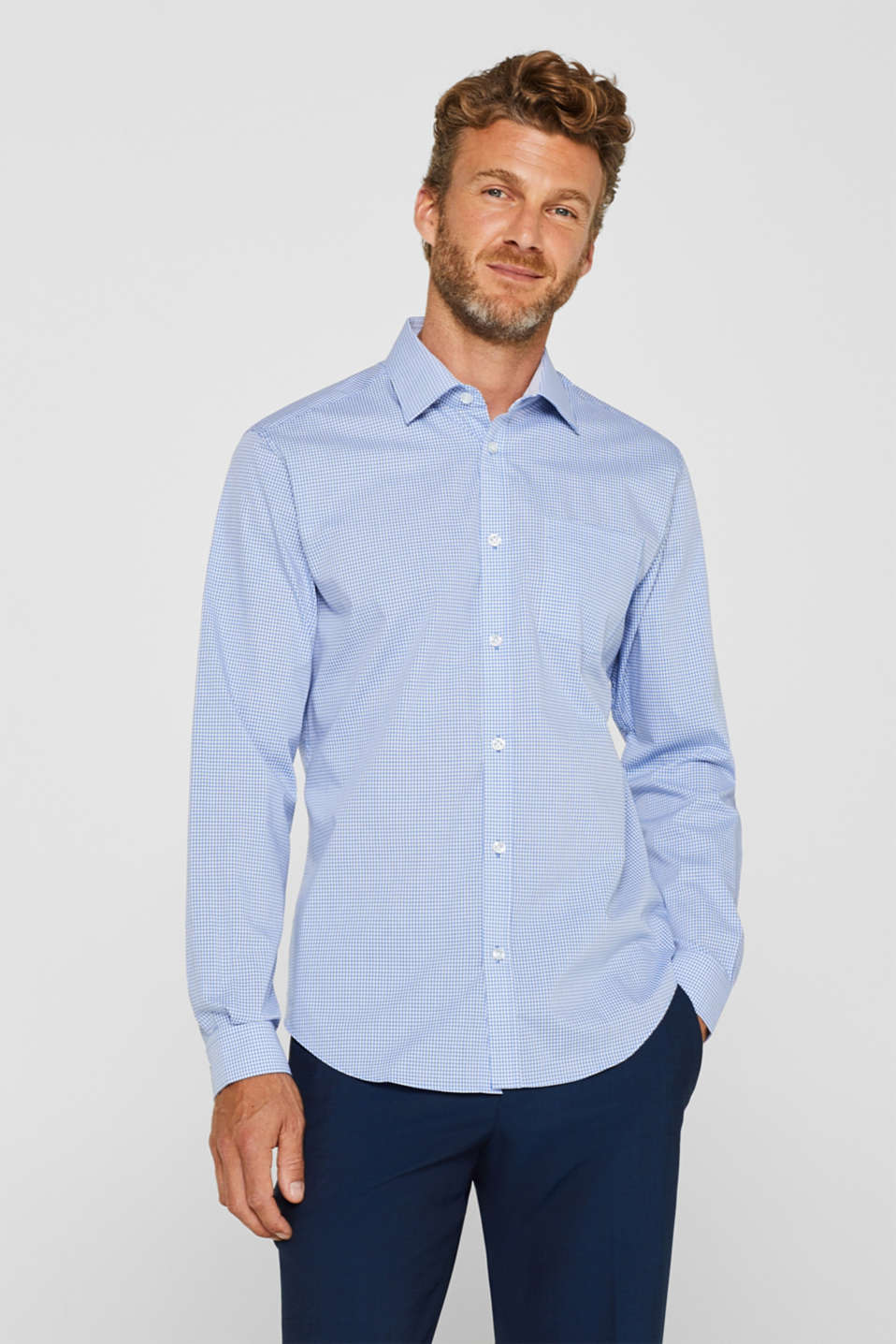 Esprit - Finely-checked shirt, 100% cotton
