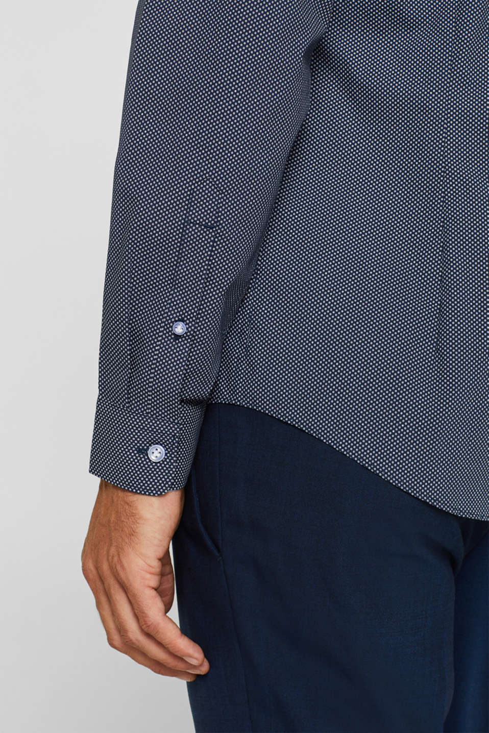 Patterned shirt in 100% cotton, NAVY, detail image number 2