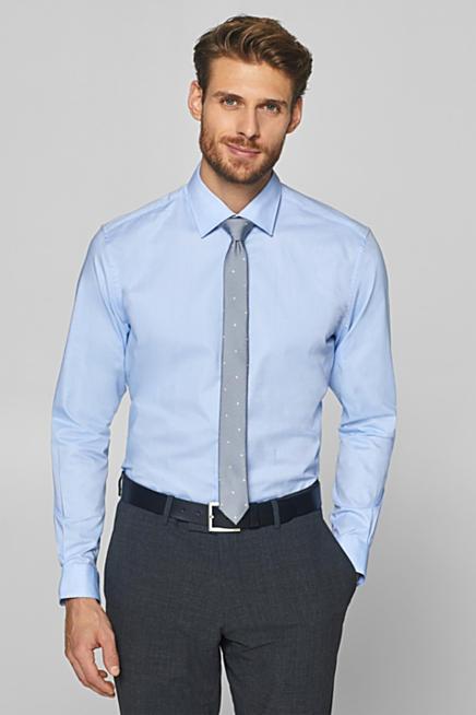 6c2c635fbe00 Strukturiertes Hemd aus 100% Baumwolle. Blau LIGHT BLUE  Weiß WHITE