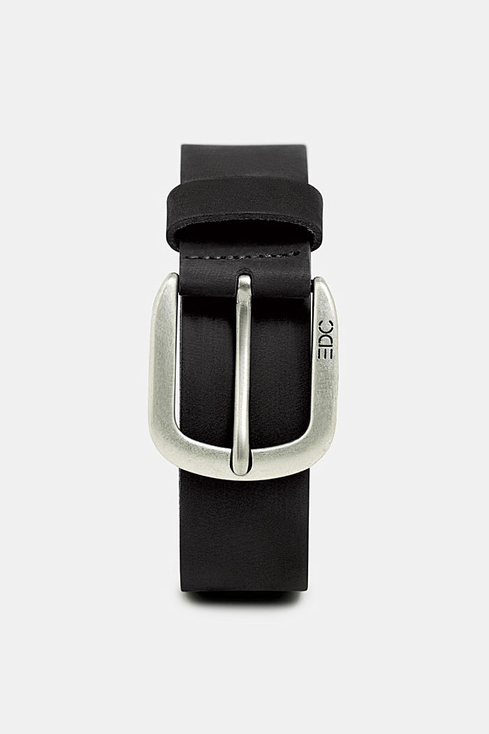Leather belt with a matte outer surface, BLACK, overview