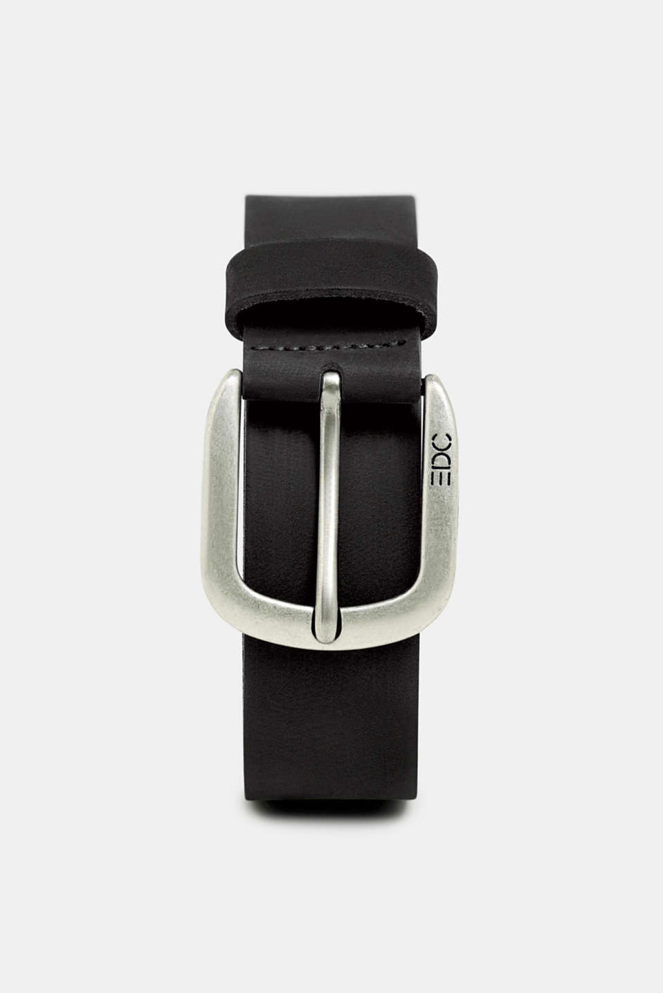 Leather belt with a matte outer surface, BLACK, detail image number 0