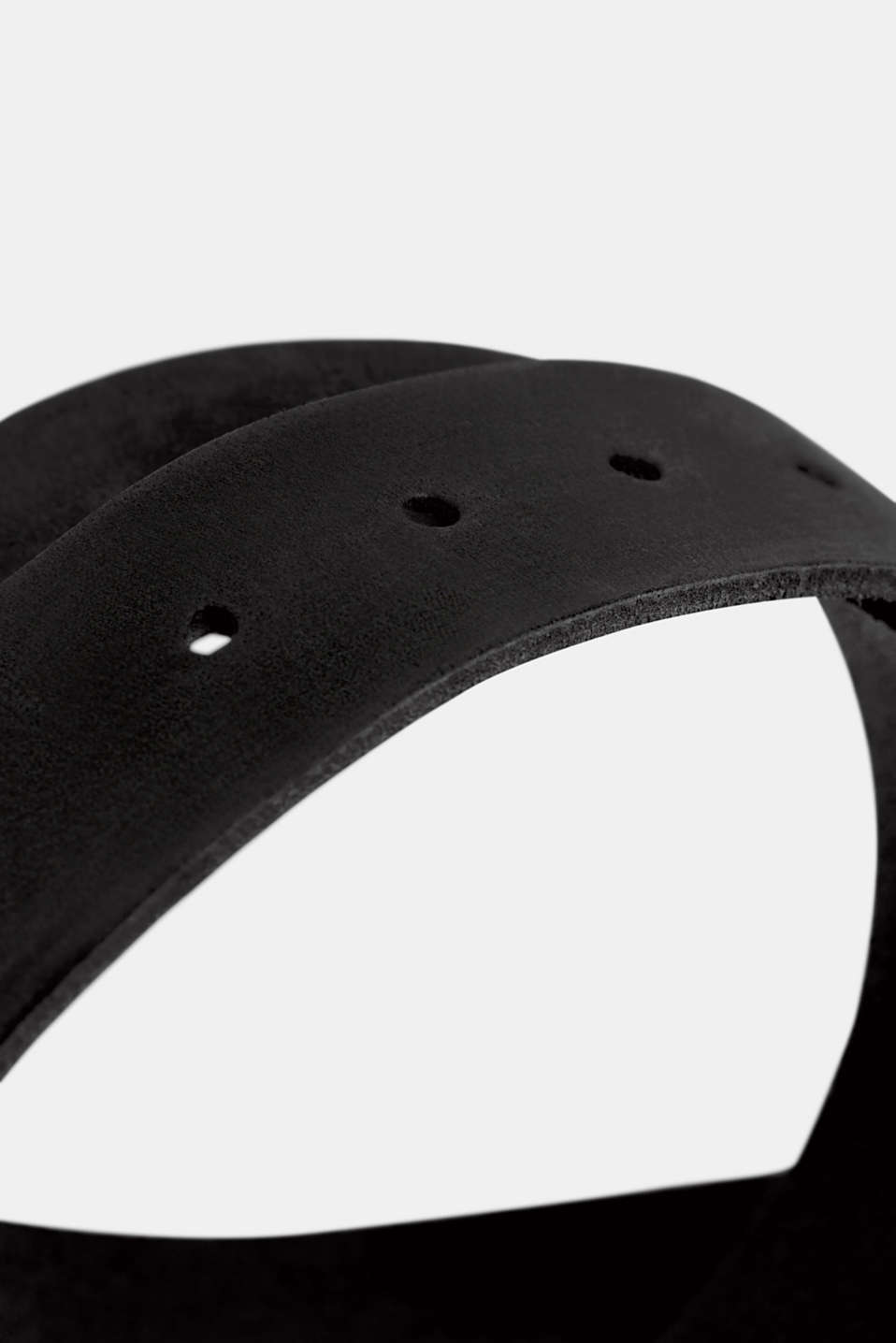 Leather belt with a matte outer surface, BLACK, detail image number 1