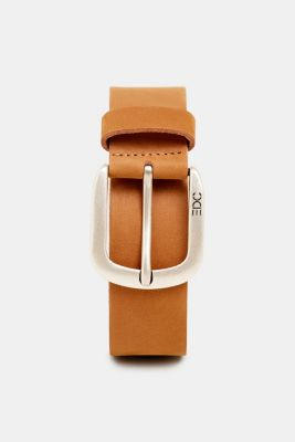 Leather belt with a matte outer surface, RUST BROWN, detail
