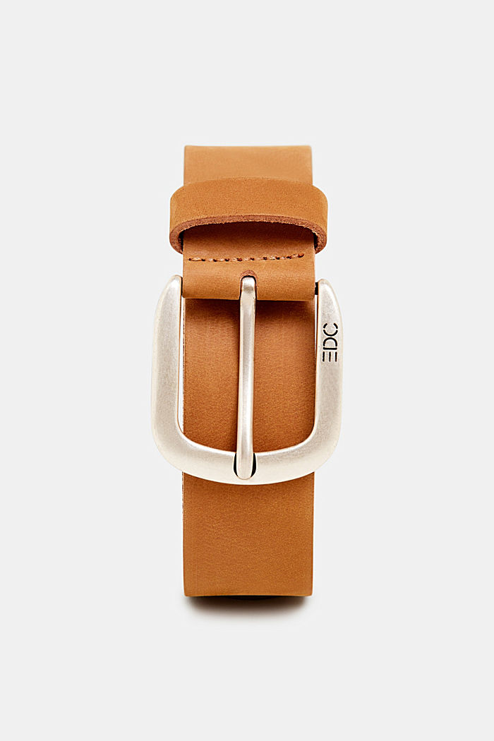 Leather belt with a matte outer surface, RUST BROWN, overview