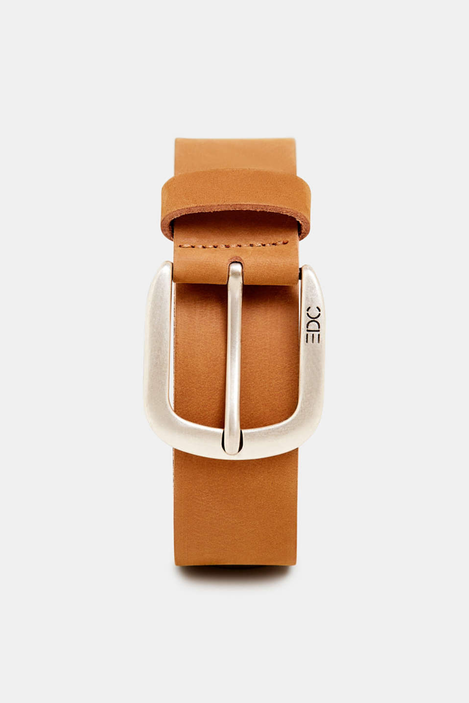 Leather belt with a matte outer surface, RUST BROWN, detail image number 0