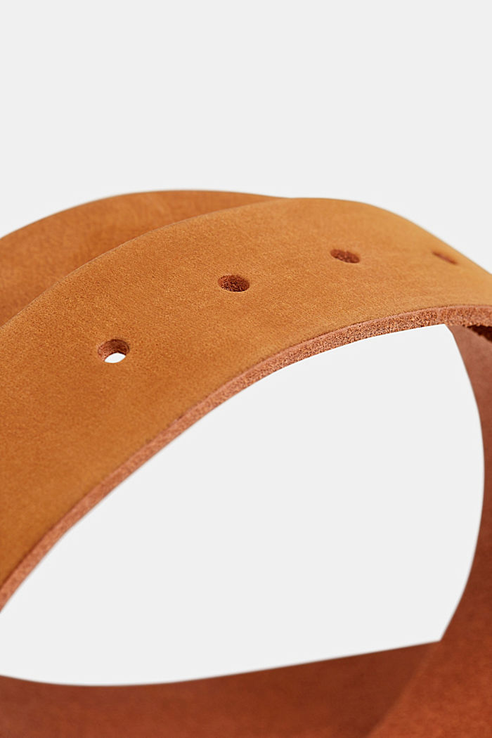 Leather belt with a matte outer surface, RUST BROWN, detail image number 1