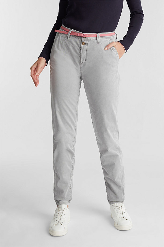 Stretch chinos with a belt and button fly, GREY, detail image number 0