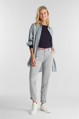 Stretch chinos with a belt and button fly, GREY, detail