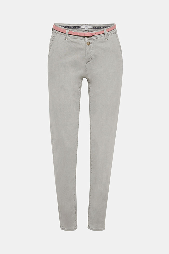 Stretch chinos with a belt and button fly, GREY, detail image number 6