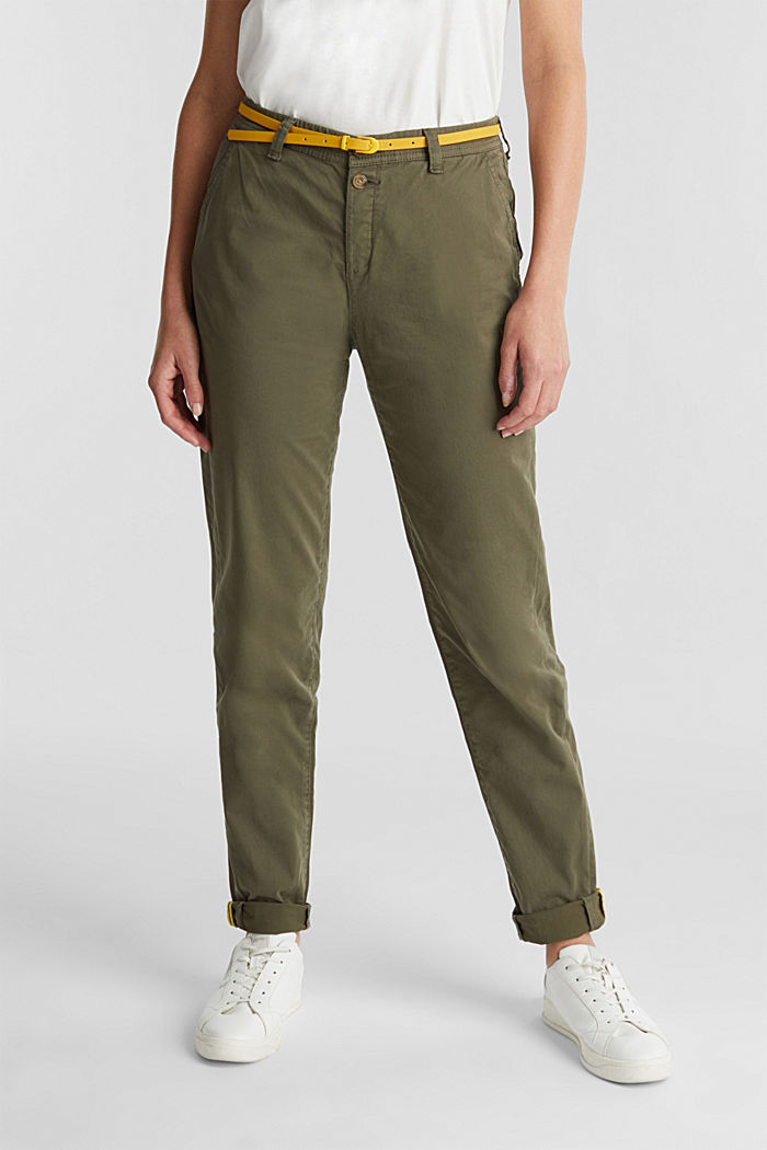 Stretch chinos with a belt and button fly, LIGHT KHAKI, detail image number 0