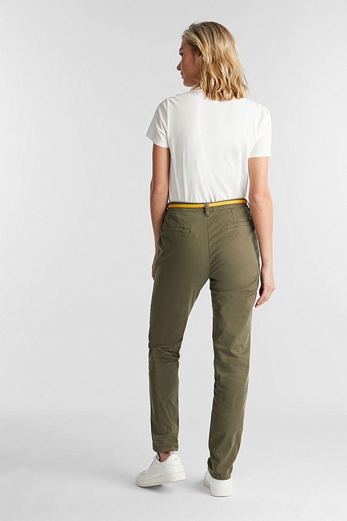 Stretch chinos with a belt and button fly, LIGHT KHAKI, detail image number 3