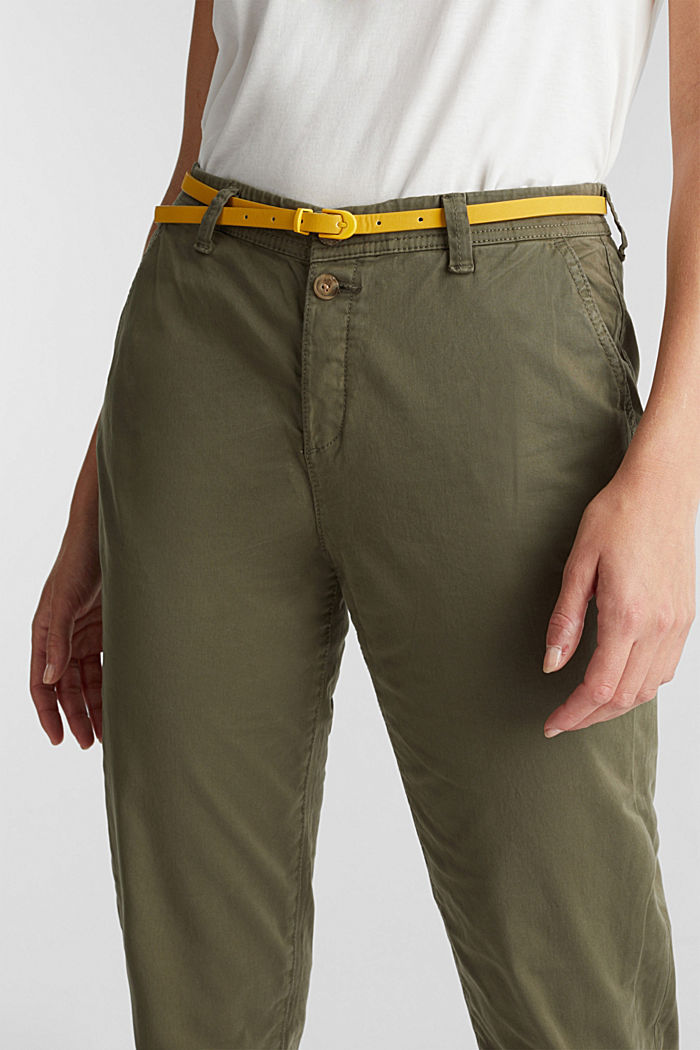 Stretch chinos with a belt and button fly, LIGHT KHAKI, detail image number 2