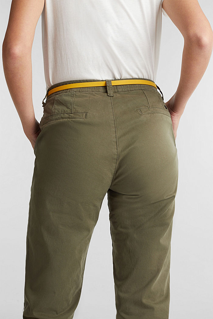 Stretch chinos with a belt and button fly, LIGHT KHAKI, detail image number 5