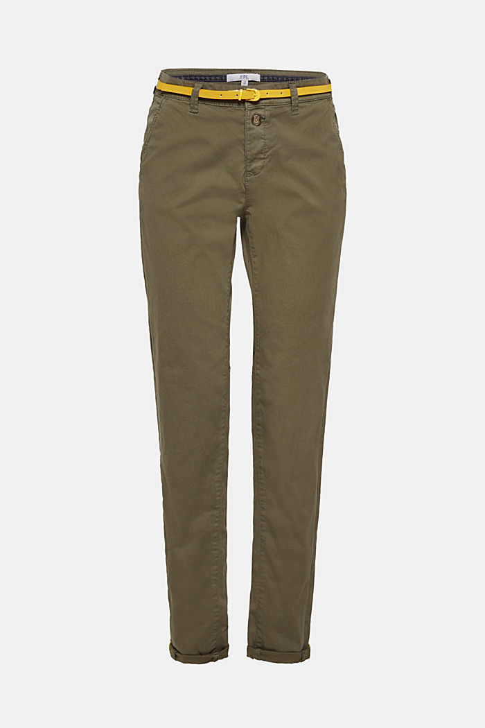 Stretch chinos with a belt and button fly